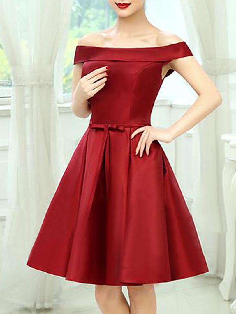 a42f6975b525 Burgundy Off Shoulder Bow Waist Homecoming Bandeau Dress
