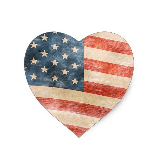 Vintage Painted Look American Flag Heart Sticker
