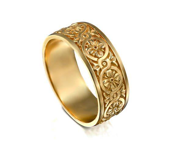 Celtic Knot Wedding Gold Ring 14k Solid Gold Mens Band Wide Etsy Celtic Wedding Rings Celtic Knot Wedding Gold Wedding Band
