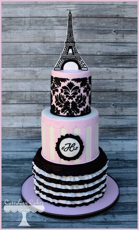 eiffel tower french inspired pink white and black stripes damask