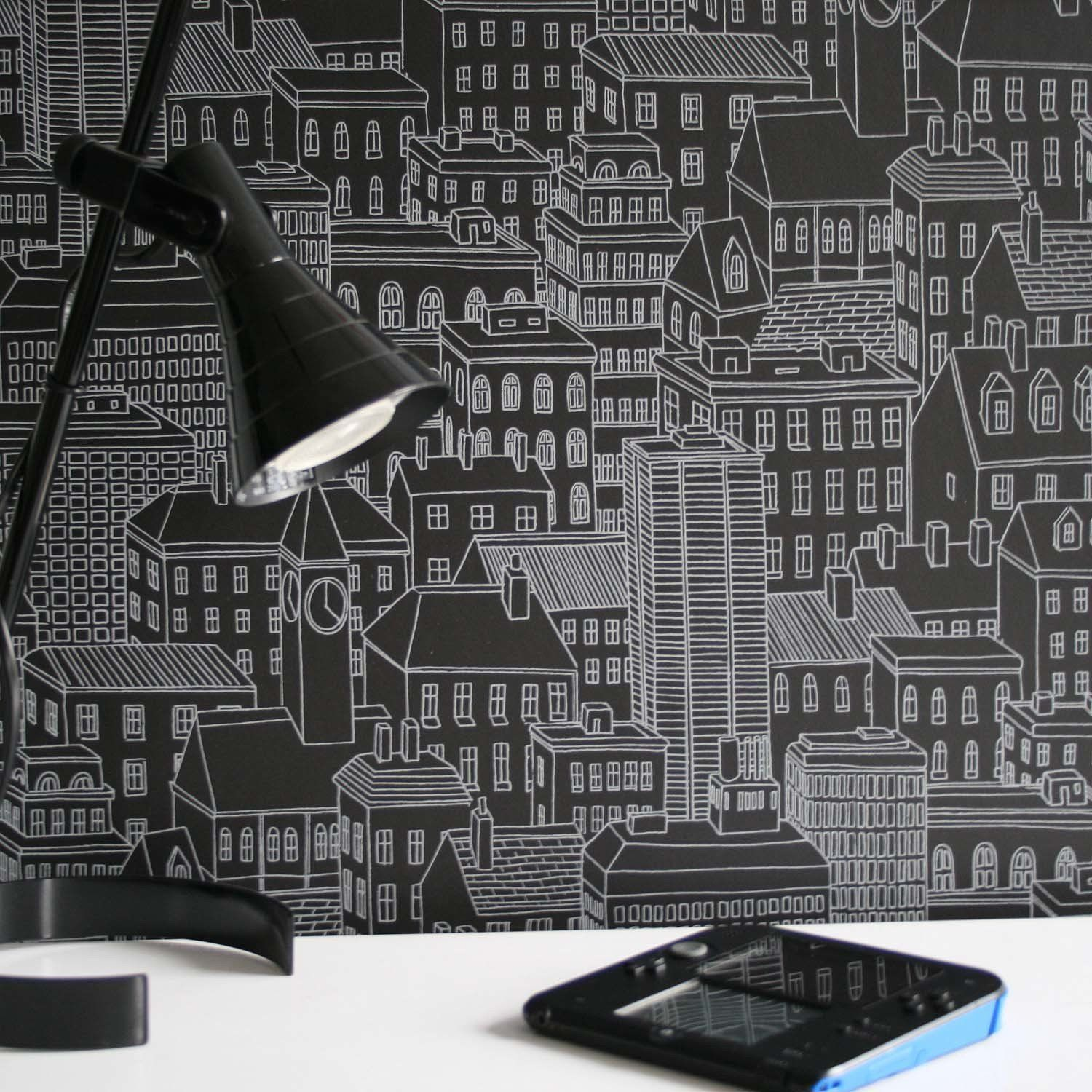 Cityscape Motif Wallpaper Black & Grey room
