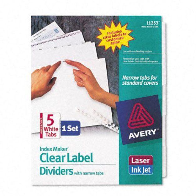 Avery Index Maker Clear Label Dividers, Narrow Tabs