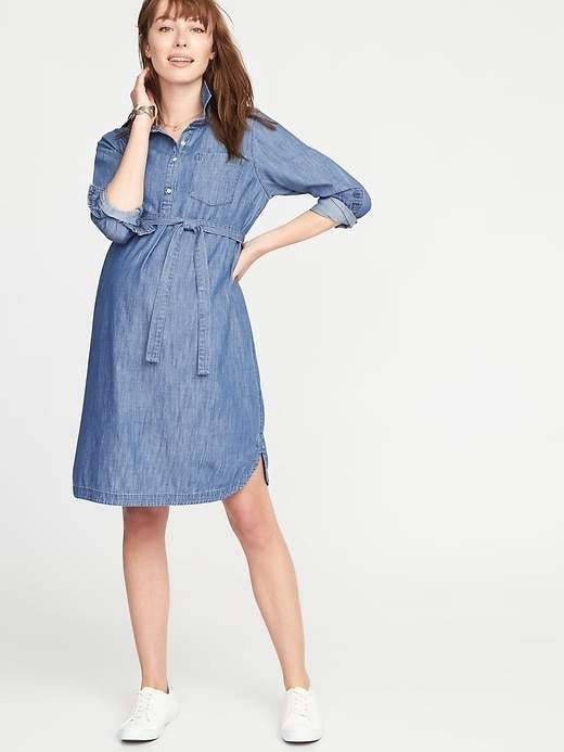 d09bdc715197c Maternity Tie-Belt Chambray Shirt Dress , needs a layering slip for side  and knee coverage!