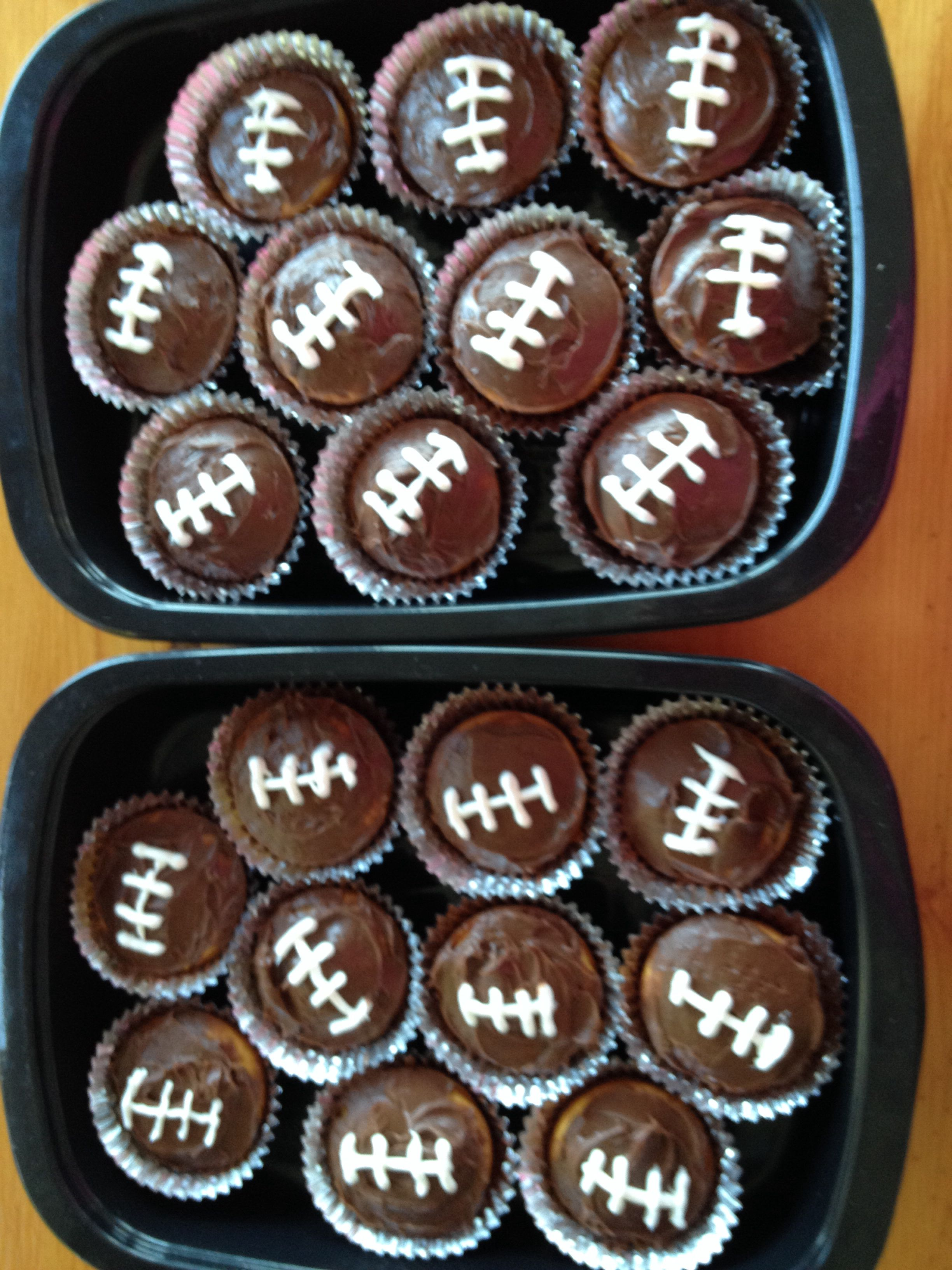 Chocolate cupcakes with white laces football game day