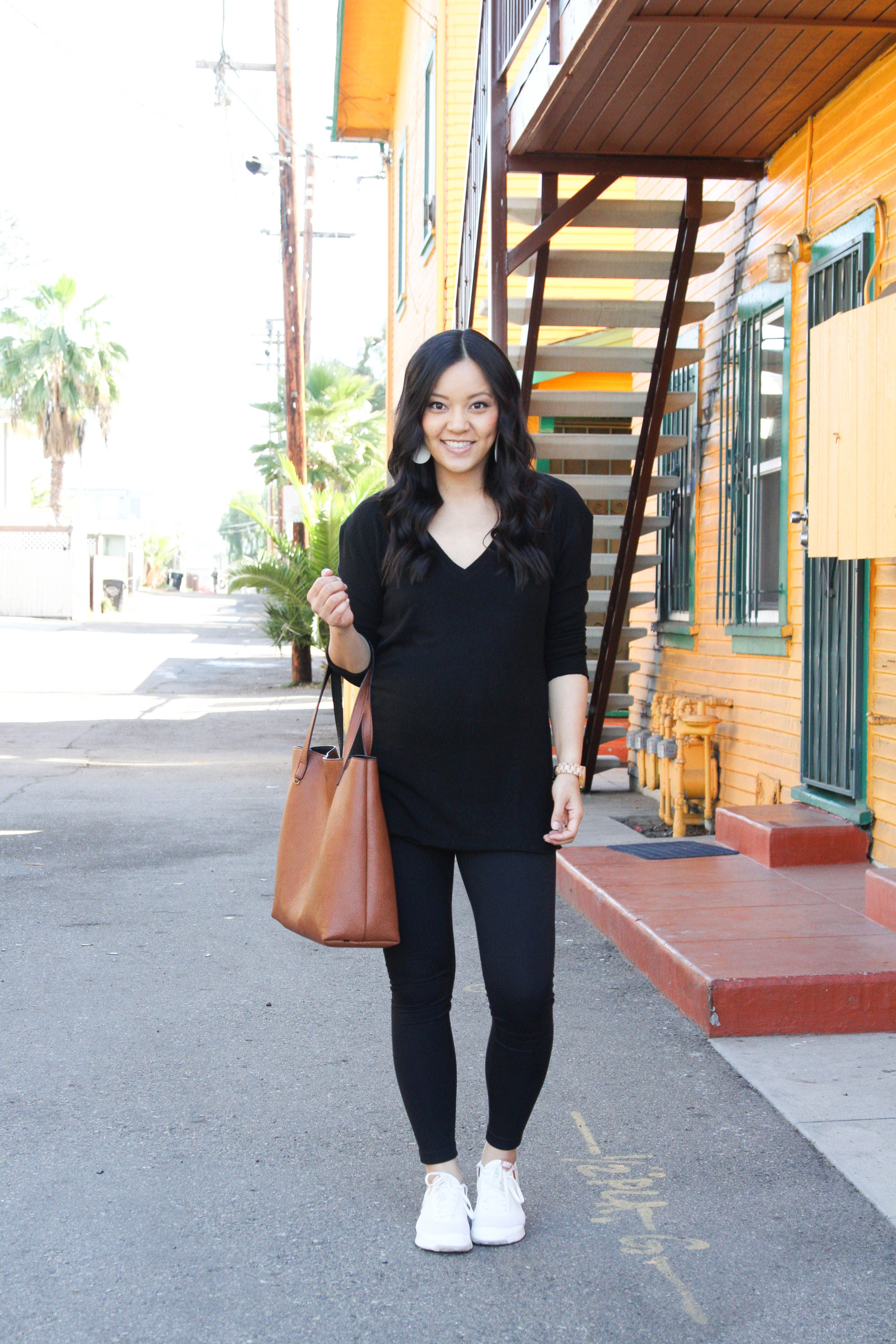 06661f2c9008e Maternity Athleisure: Black Leggings + Black Long Sleeve Top + Cognac Tote  + White Sneakers