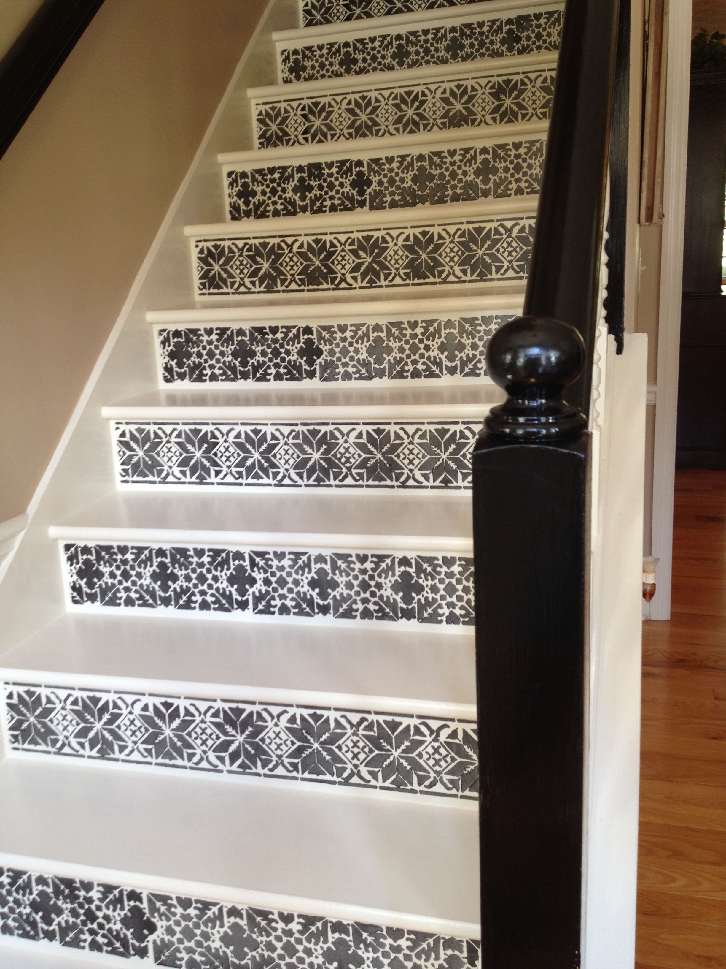 Alternate Stencil On Stair Risers To Achieve A Moroccan / Mexican Tile Look!