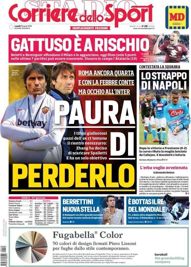 Corriere dello Sport (29 de abril de 2019) Portadas