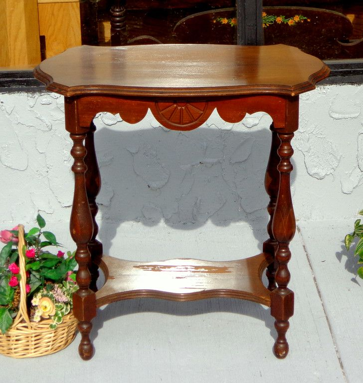 Coffee and Accent Tables - Used Furniture Detroit Area  (FredsUniqueFurniture) - Antique Spindle Accent Solid Wood Accent Table. 30 X 18 X 30. <b>$95