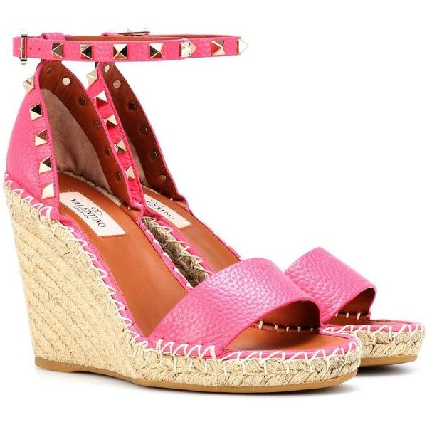 299a402945a4 Valentino Valentino Garavani Rockstud Leather Wedge Espadrilles ( 845) ❤  liked on Polyvore featuring shoes