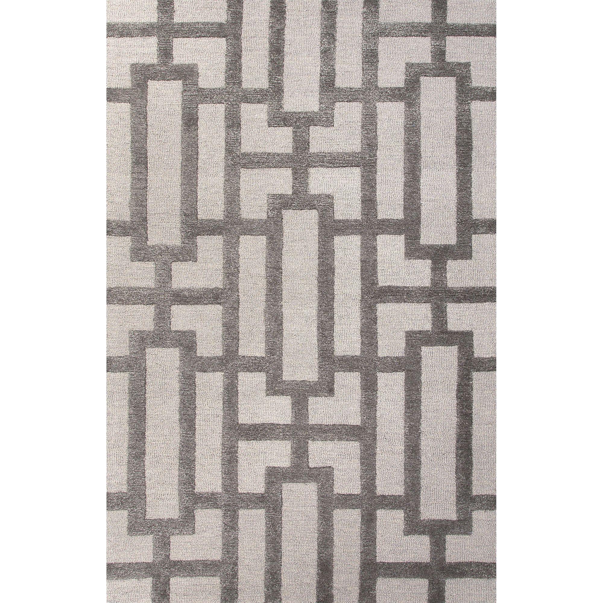 Jaipur Rugs Modern Geometric Pattern Ivory Gray Wool And Art Silk Area Rug Ct36