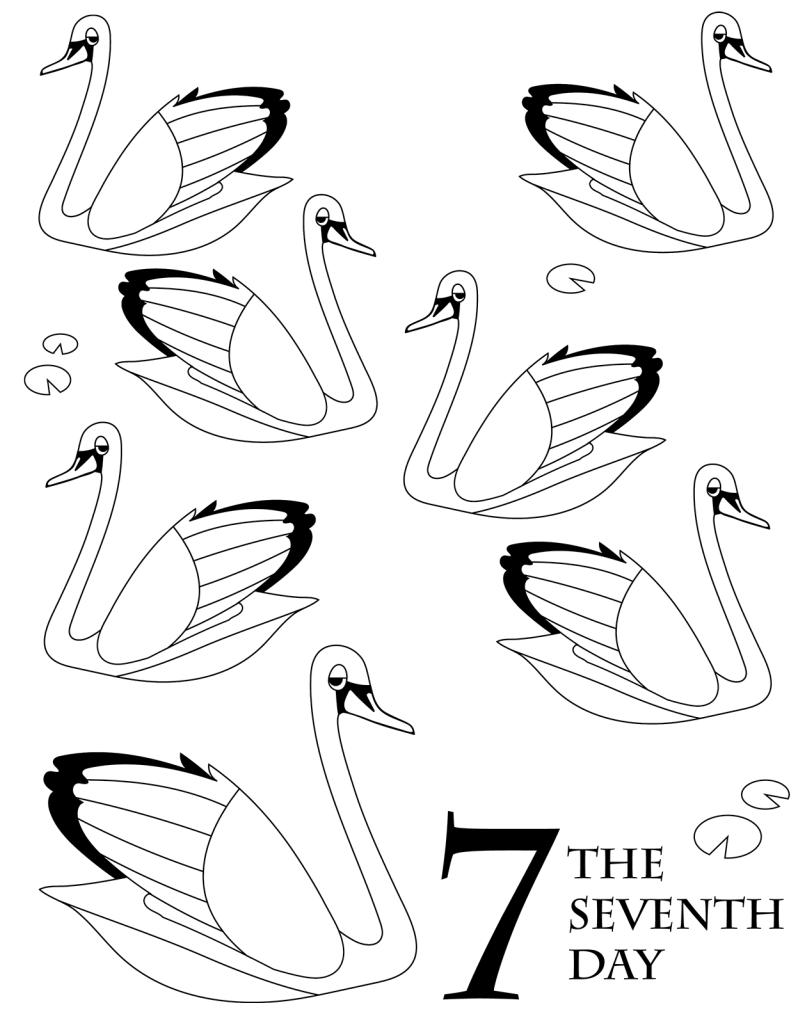 Free Christmas Coloring Printable Seven Swans A Swimming Christmas Coloring Books Christmas Colors Holiday Crafts Diy