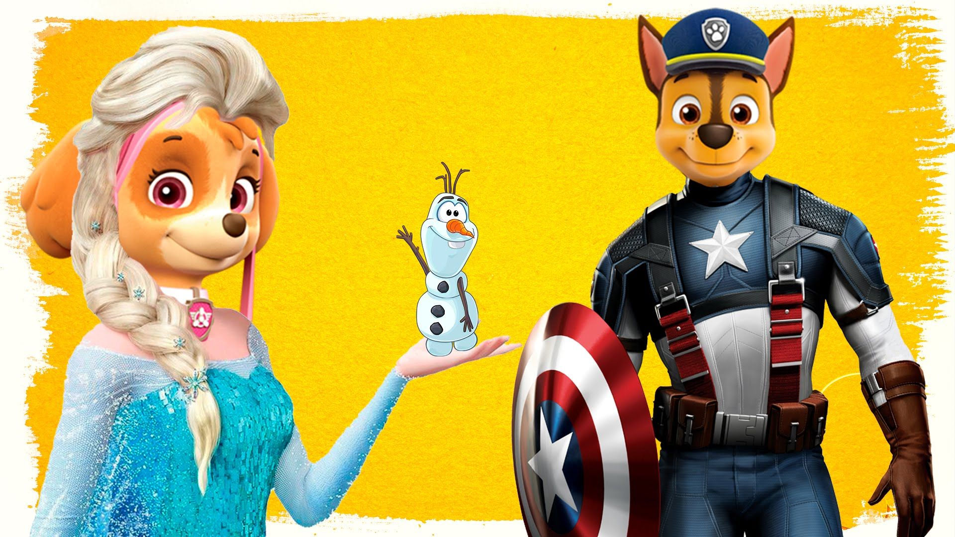 PAW Patrol Disney Frozen Elsa Captain America | Skye and Chase ...