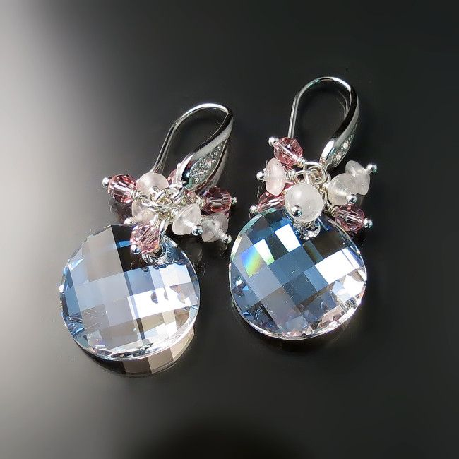 Sparkly crystal drop earrings with pink stone cluster and prismatic Swarovski crystals