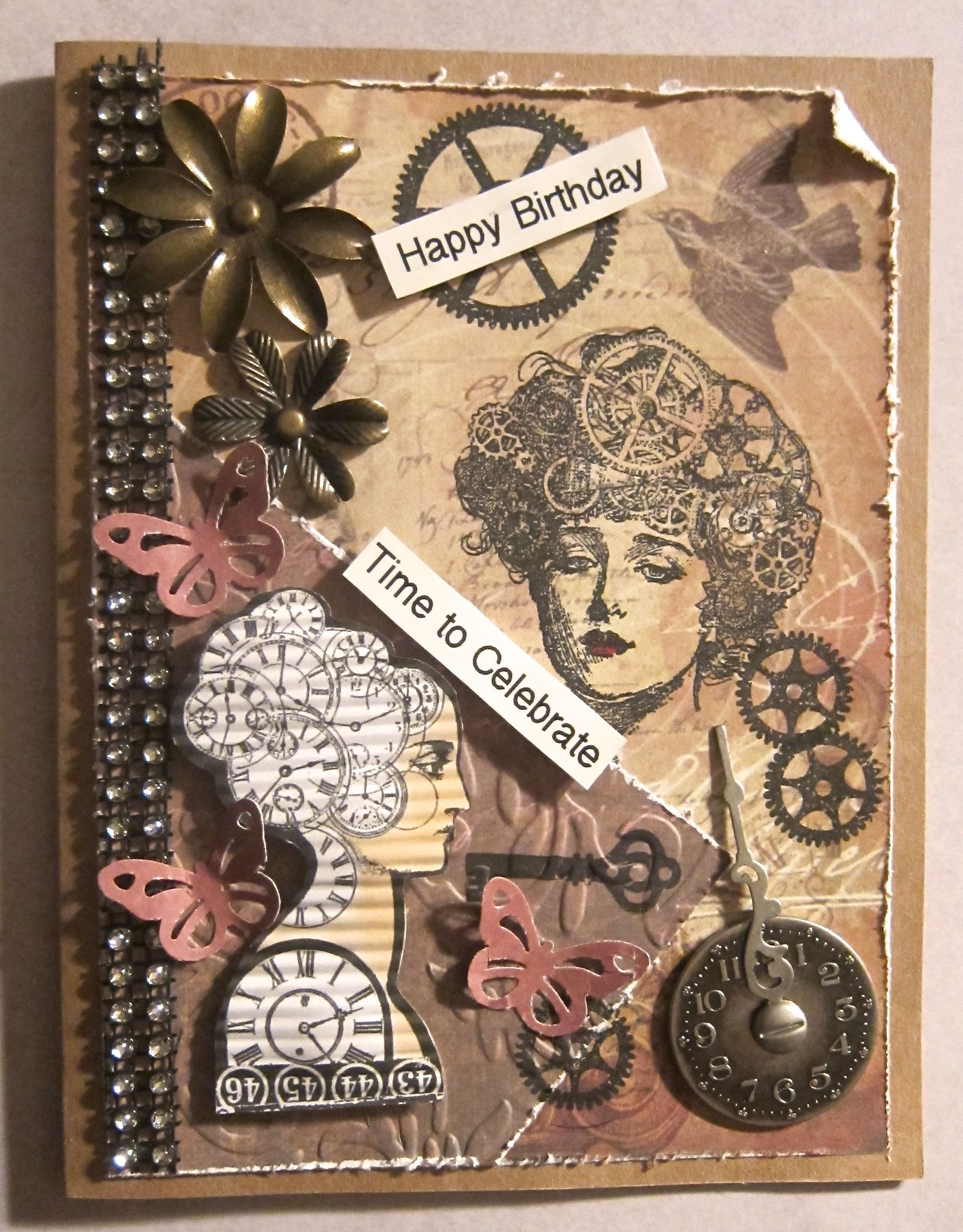 Steampunk Collage Birthday Card For A Woman Birthday Cards Time To Celebrate Cards