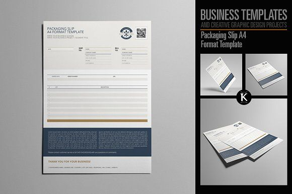 Packaging Slip A4 Format Template by Keboto on @creativemarket - slip template