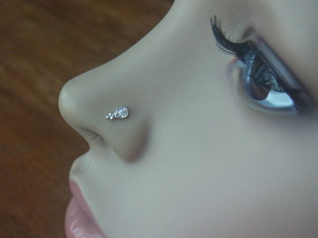 Teardrop Trinity Ball Sterling Silver Nose Stud Nose Ring Etsy