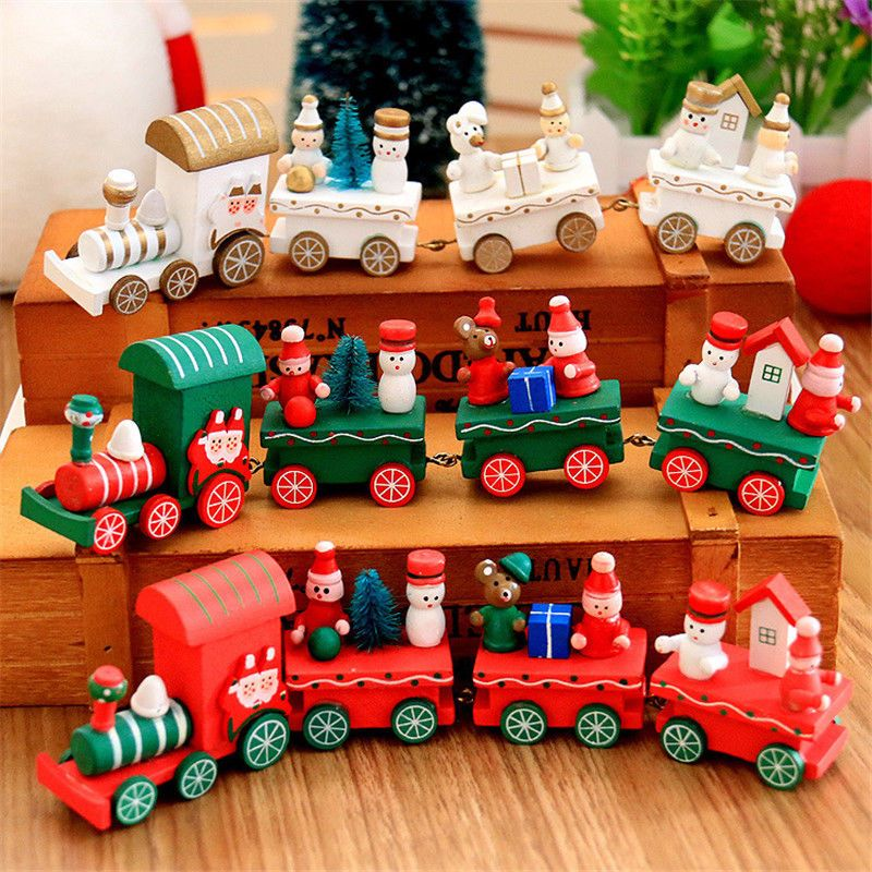 Details zu 1x Weihnachtshölzerner Zug Weihnachtsmann Scherzt ...