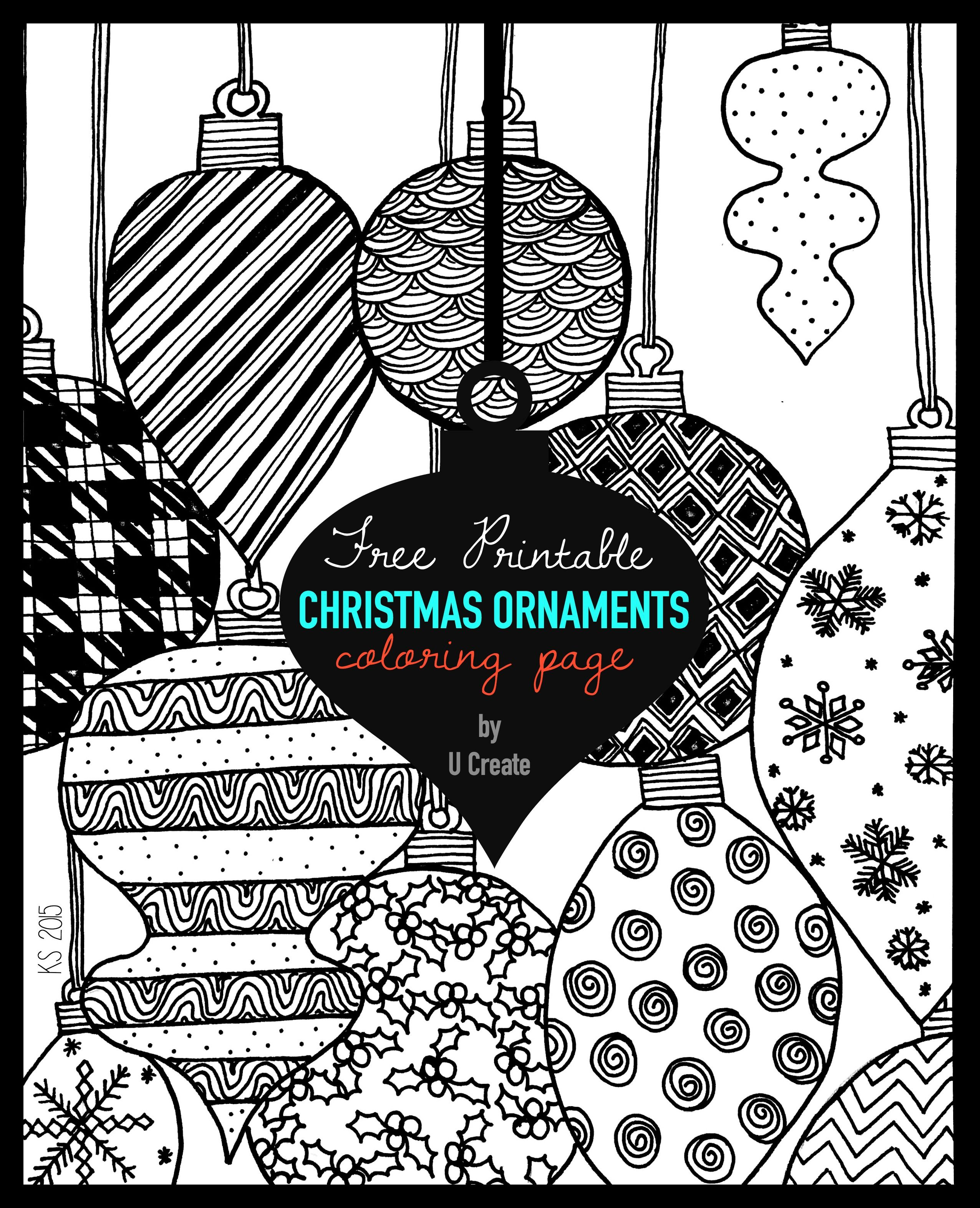 adult coloring page printable by u create christmas ornaments - Coloring Pages Christmas Stuff