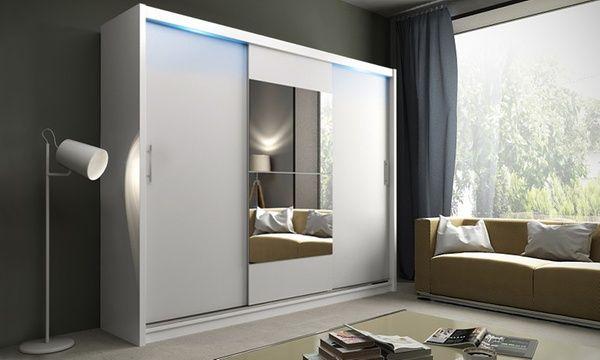 Deze kledingkast met deuren en spiegel, naar keuze met led ...