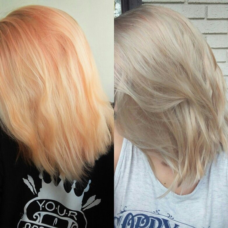 Wella T18 And T14 Toner Mixed Before Pale Orange Yellow With Some