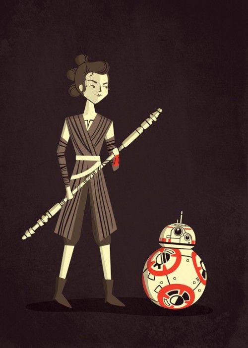 Poster Star Wars - Rey e BB-8