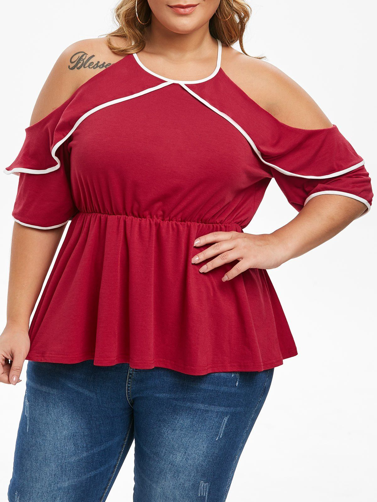 Photo of Plus Size Contrast Piping Cold Shoulder Peplum T-shirt