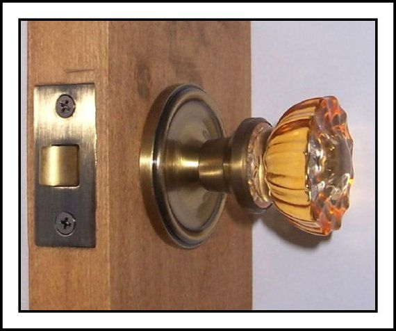 Crystal Glass Amber Door Knobs with Antique Brass Rosettes/Hardware ...