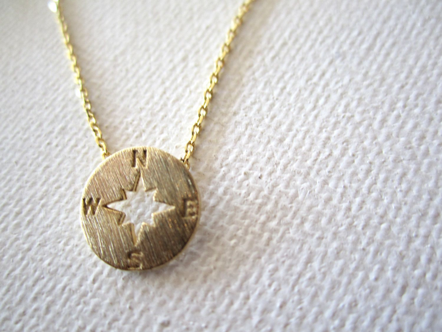 Tiny gold compass necklacesimple handmade jewelry everyday north