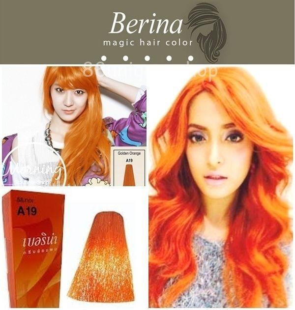 BERINA Permanent Hair Dye Color Cream Golden Orange No A19 Professional Hair Dye #Berina