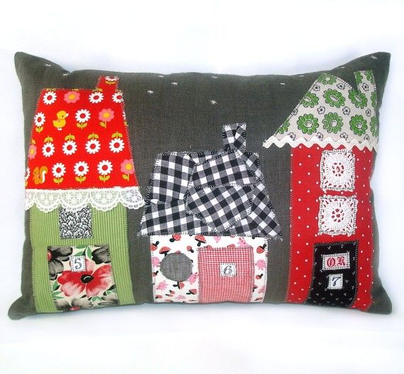 Vintage Fabric Applique House Pillow- Starry Night