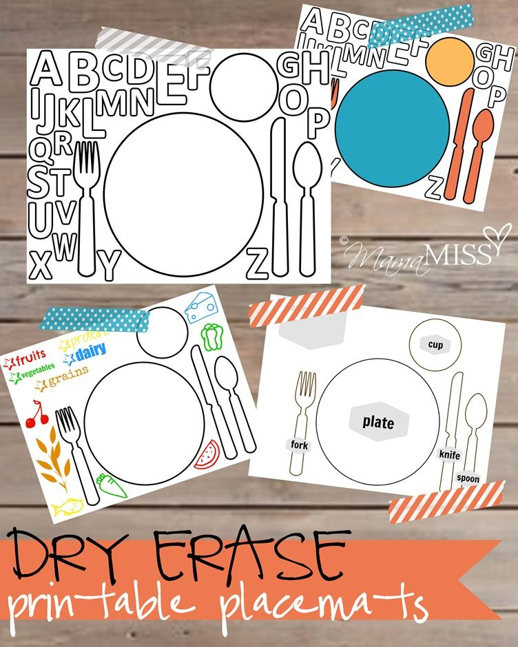 graphic about Printable Placemats for Preschoolers named Dry Erase Printable Placemats No cost printables Children