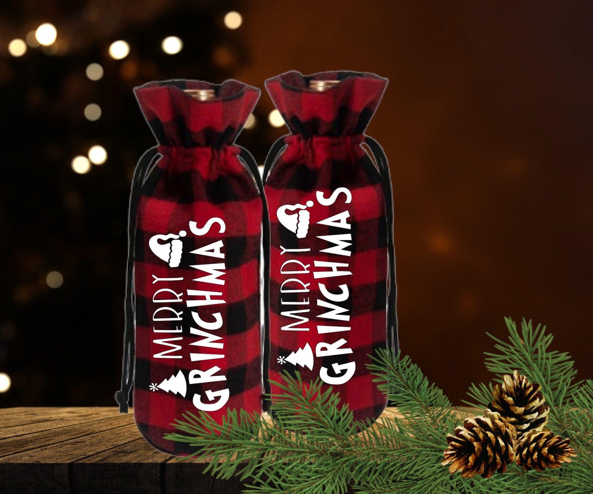 Merry Grinchmas Wine Bag Wine Gift Bag Buffalo Plaid Wine Etsy Wine Bag Wine Gift Bag Gifts