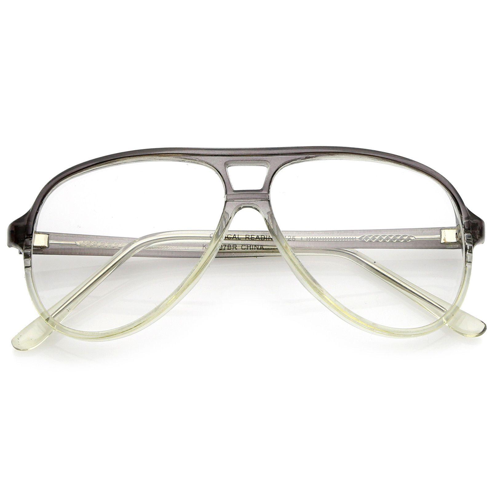 RETRO AVIATOR GLASSES CLEAR LENS Choose Translucent Frame HIPSTER Vintage Style