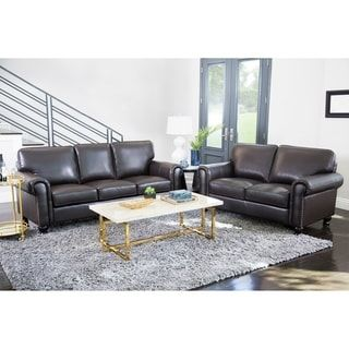 abbyson london top grain leather 2 piece living room set sofas