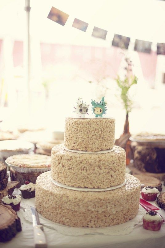 Casey and Tim's farm wedding was heavy on the delish desserts — including this three-tier wedding cake made from Rice Krispies! This is a true DIY masterpiece: Casey's dad created…