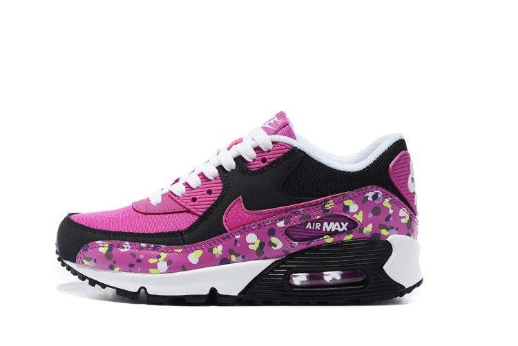 pretty nice 3f5f7 c929e Nike Air Max 90 Premium Mesh (GS) Running Shoes 724875-500 Fuchsia Black  White