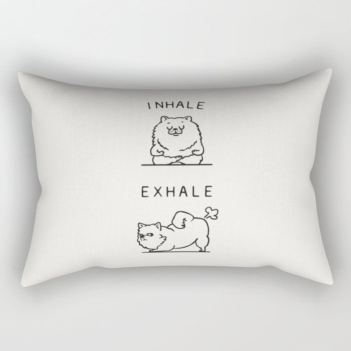 "Inhale Exhale Pomeranian Rectangular Pillow by Huebucket - Small (17"" x 12"")"
