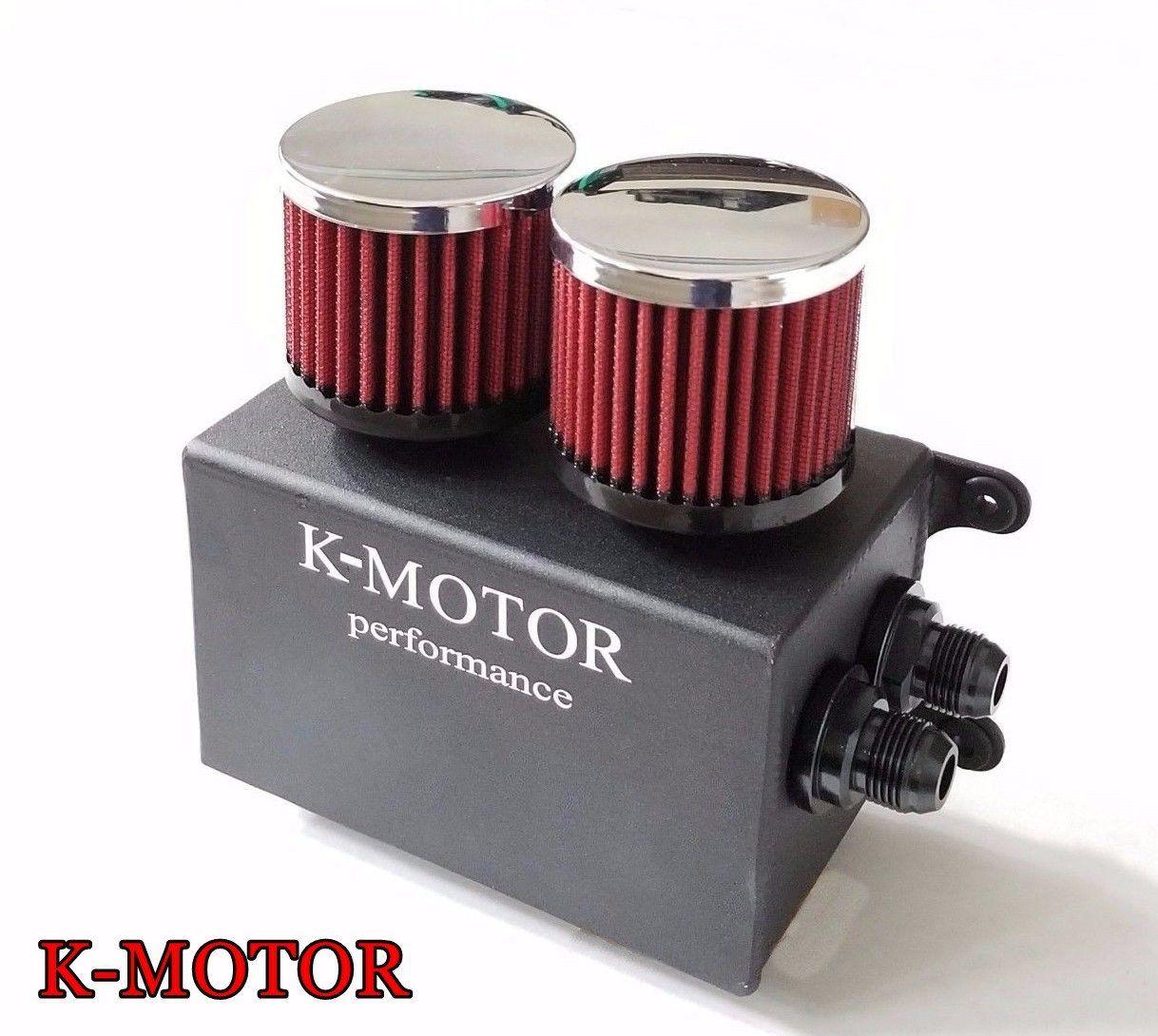 Oil Catch Reservoir Breather Can Tank Filter Kit Cylinder Aluminum Engine Blcak
