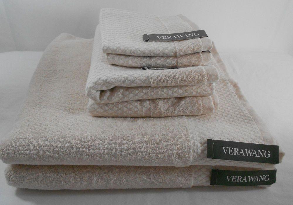 6 Pc Vera Wang Pale Pink Towel Set Diamond Pattern Front Bath Hand