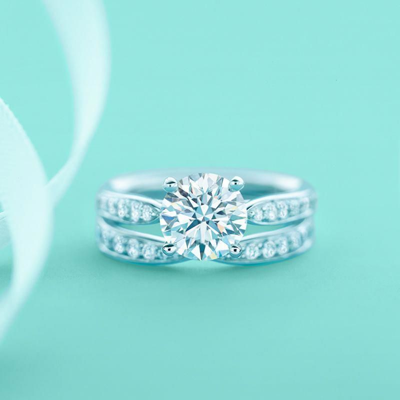 A Harmonious Couple Indeed A Tiffany Harmony Engagement Ring And Wedding Band With Diamond Tiffany Wedding Rings Diamond Wedding Bands Wedding Rings Vintage