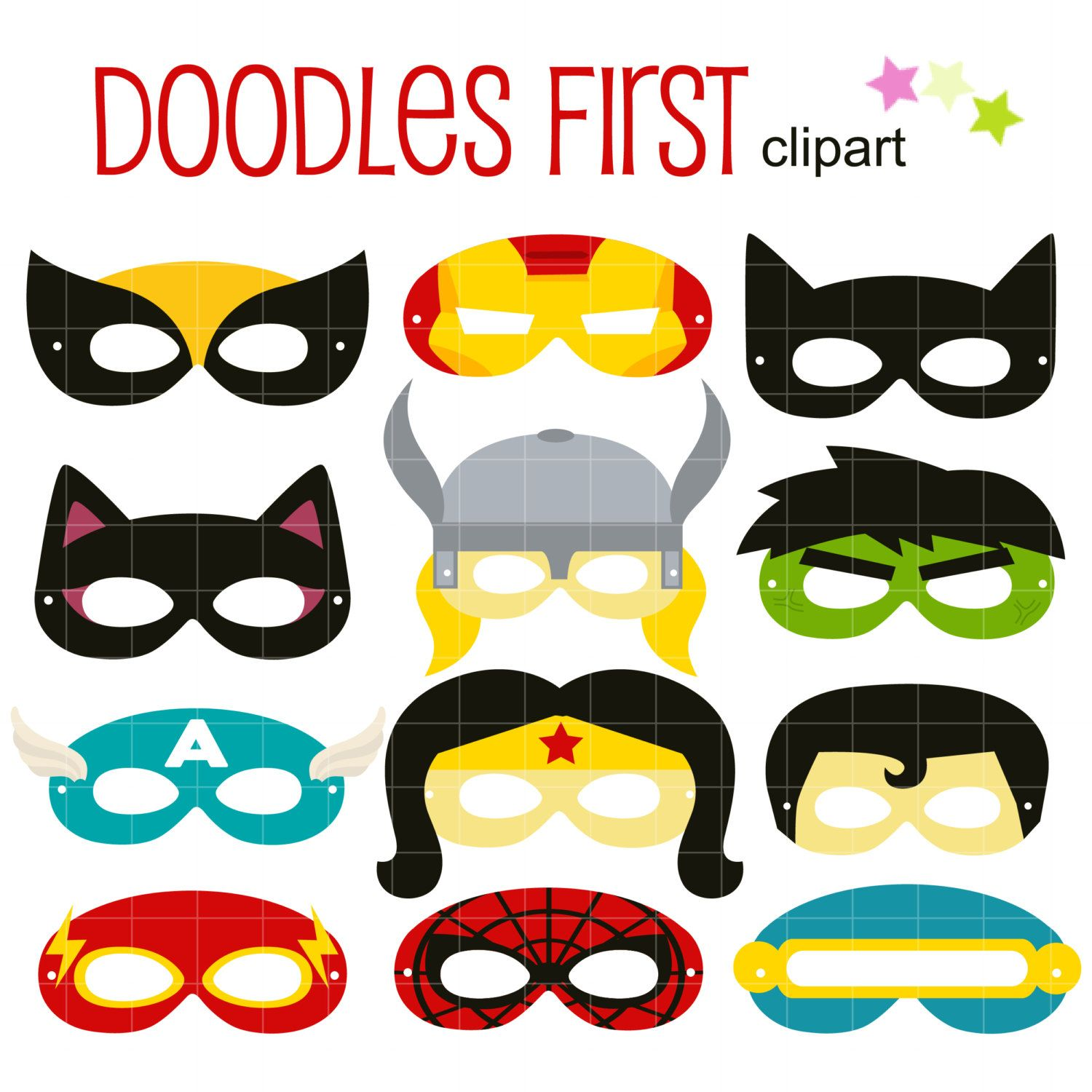 Superheroes Party Mask Digital Clip Art for Scrapbooking Card Making ...