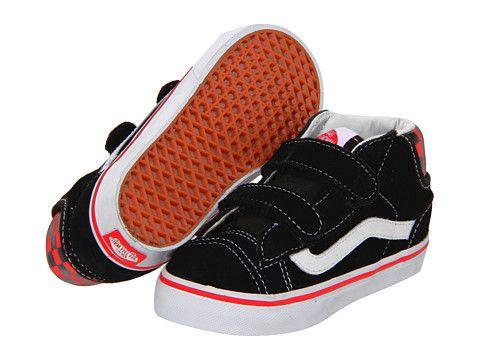 b246691345 Vans Kids Mid Skool  77 V (Infant Toddler) (Suede) Black Red ...