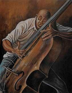 Ernie Barnes - The Bassist - - BLACK ART IN AMERICA
