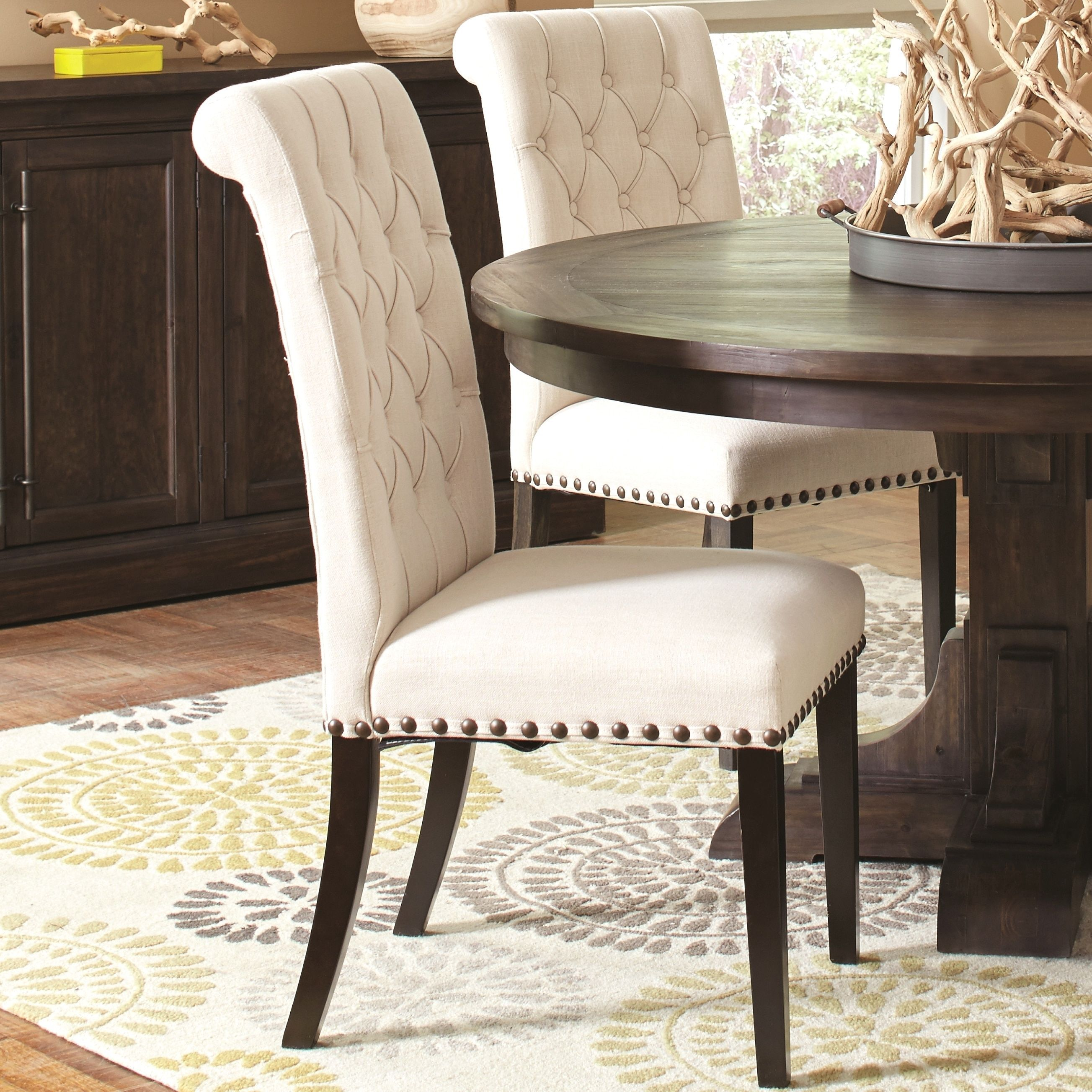 Decorative Rolled Back Button Tufted Chairs With Nailhead Trim