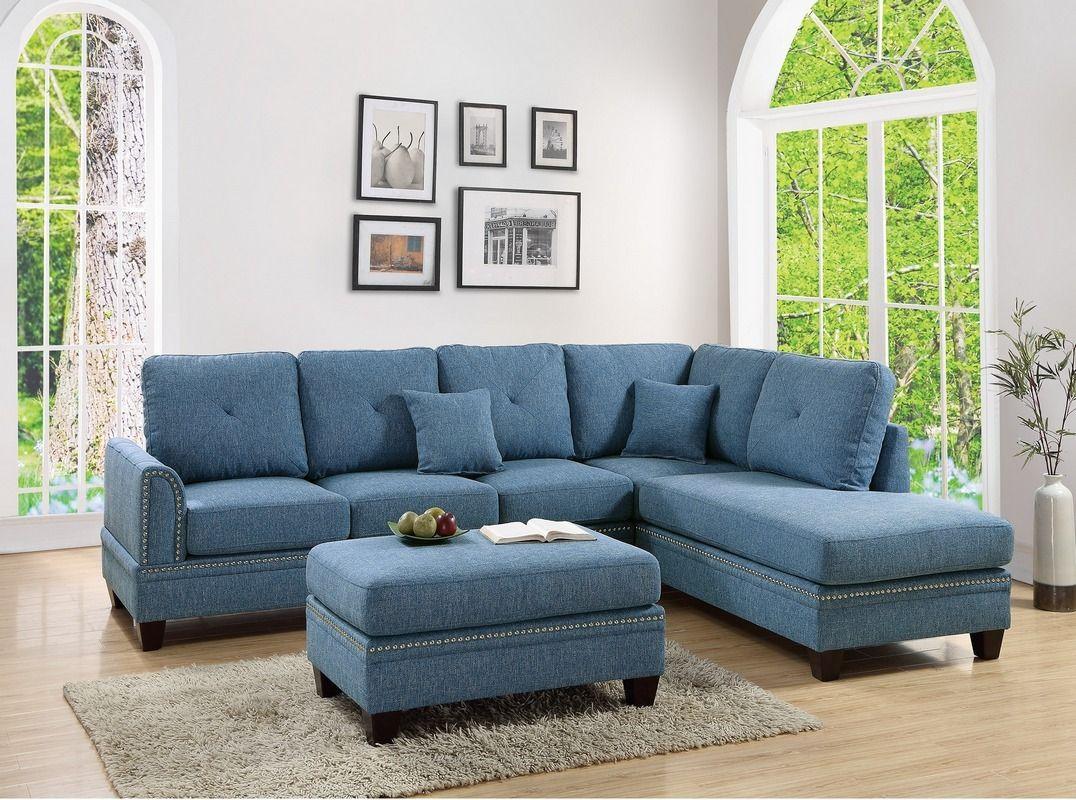 Pcs sectional sofa set blue new futonsaccent chairs u sofas free