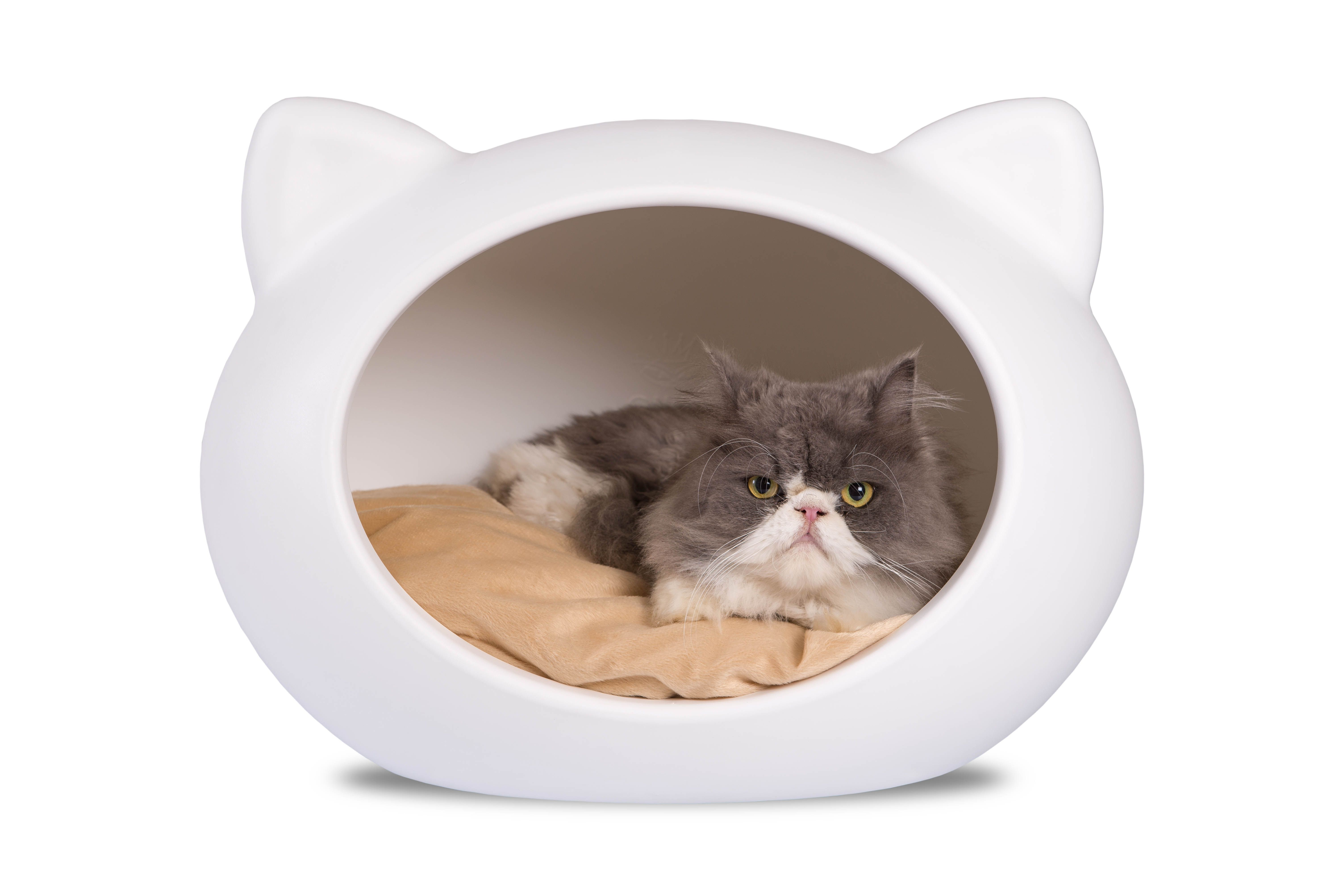 Guisapet Cat Bed White Cave With Beige Cushion