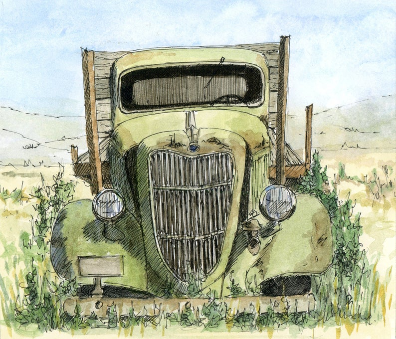 Flatbed Farmtruck: Abandoned Ford Flatbed Truck, Original Painting By David