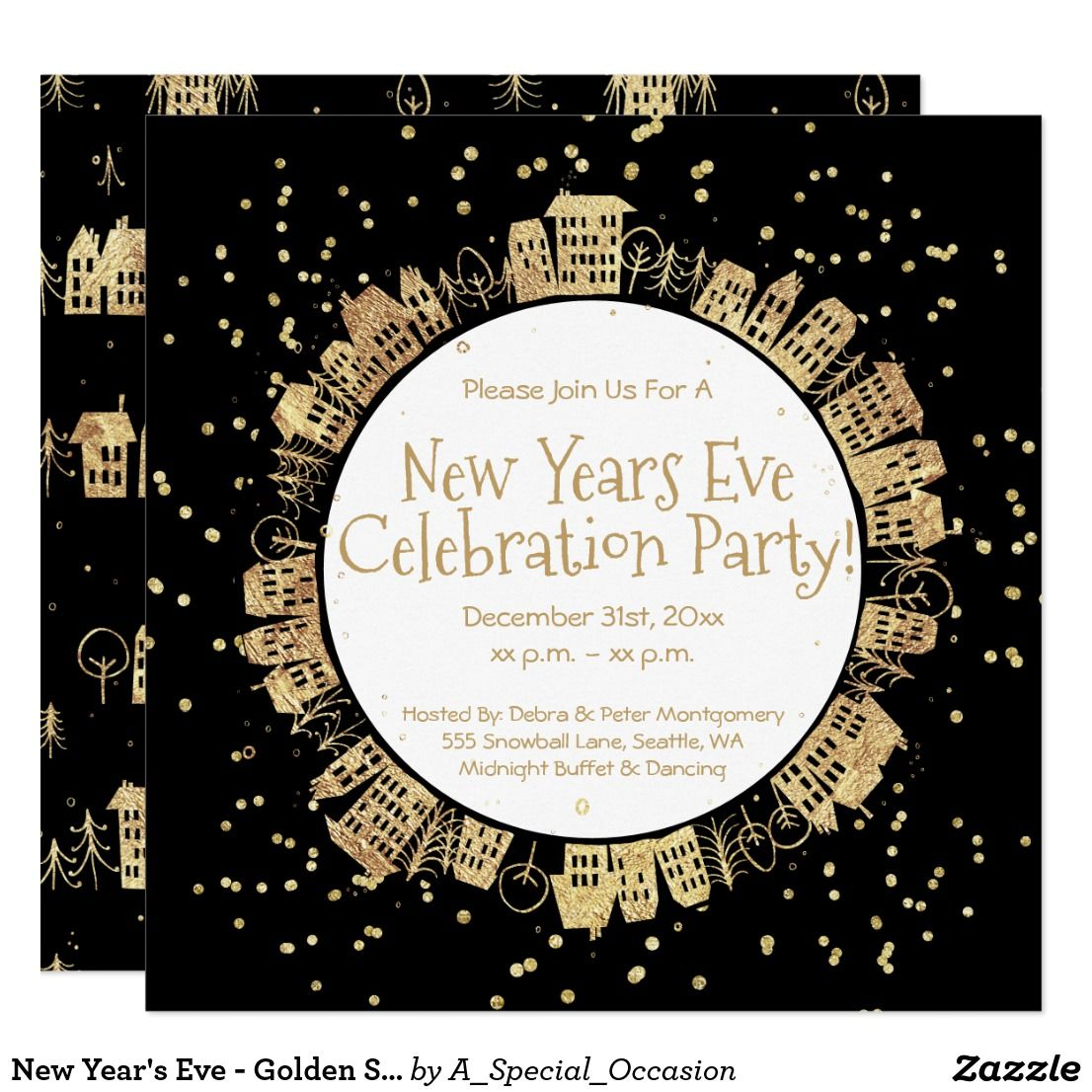 New Year S Eve Golden Sparkle Party Invitation Zazzle Com New Years Eve Invitations Party Invitations Sparkle Party