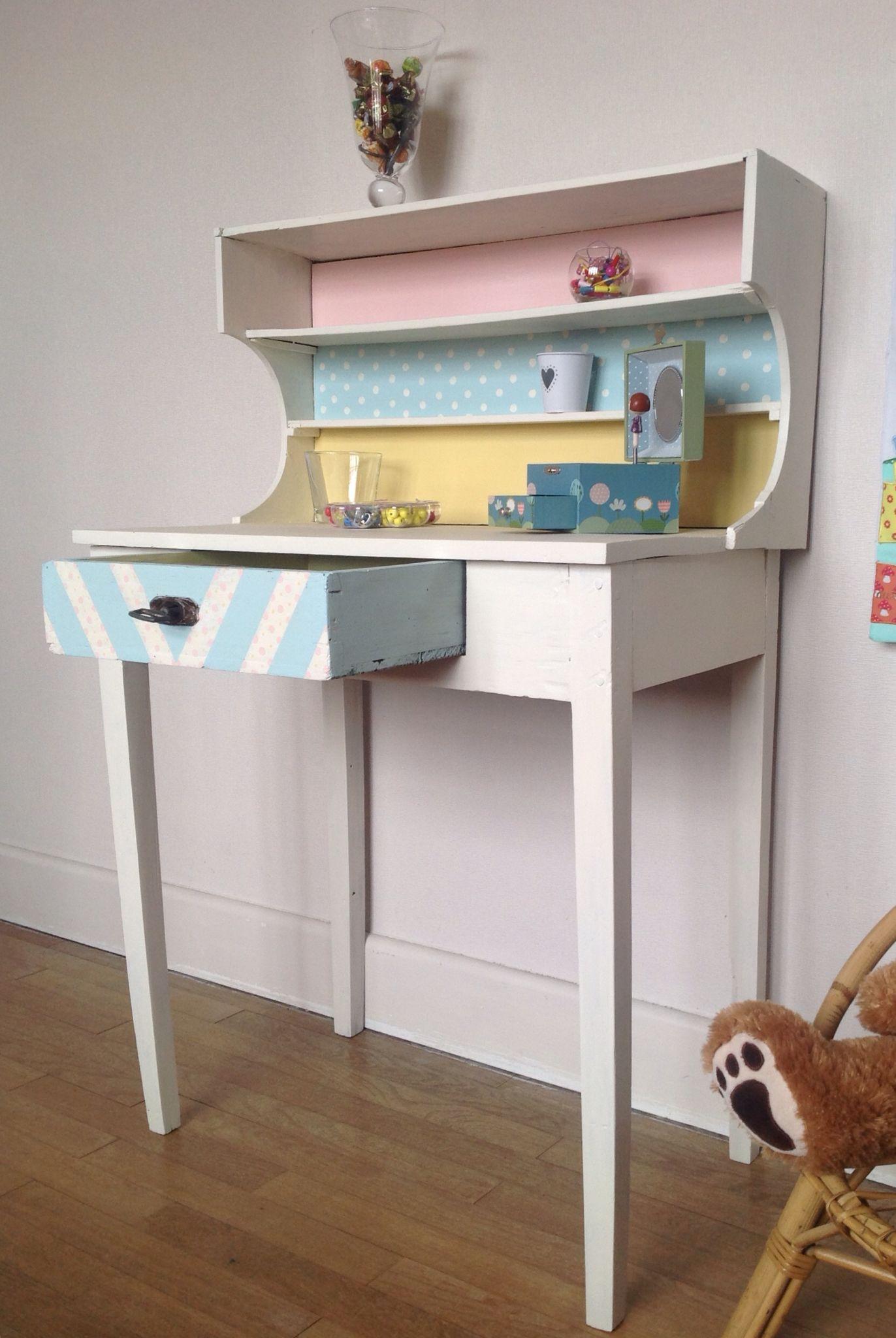 Bureau coiffeuse pour chambre de fille motifs r alis s en peinture mobilier vintage enfant - Bureau secretaire enfant ...