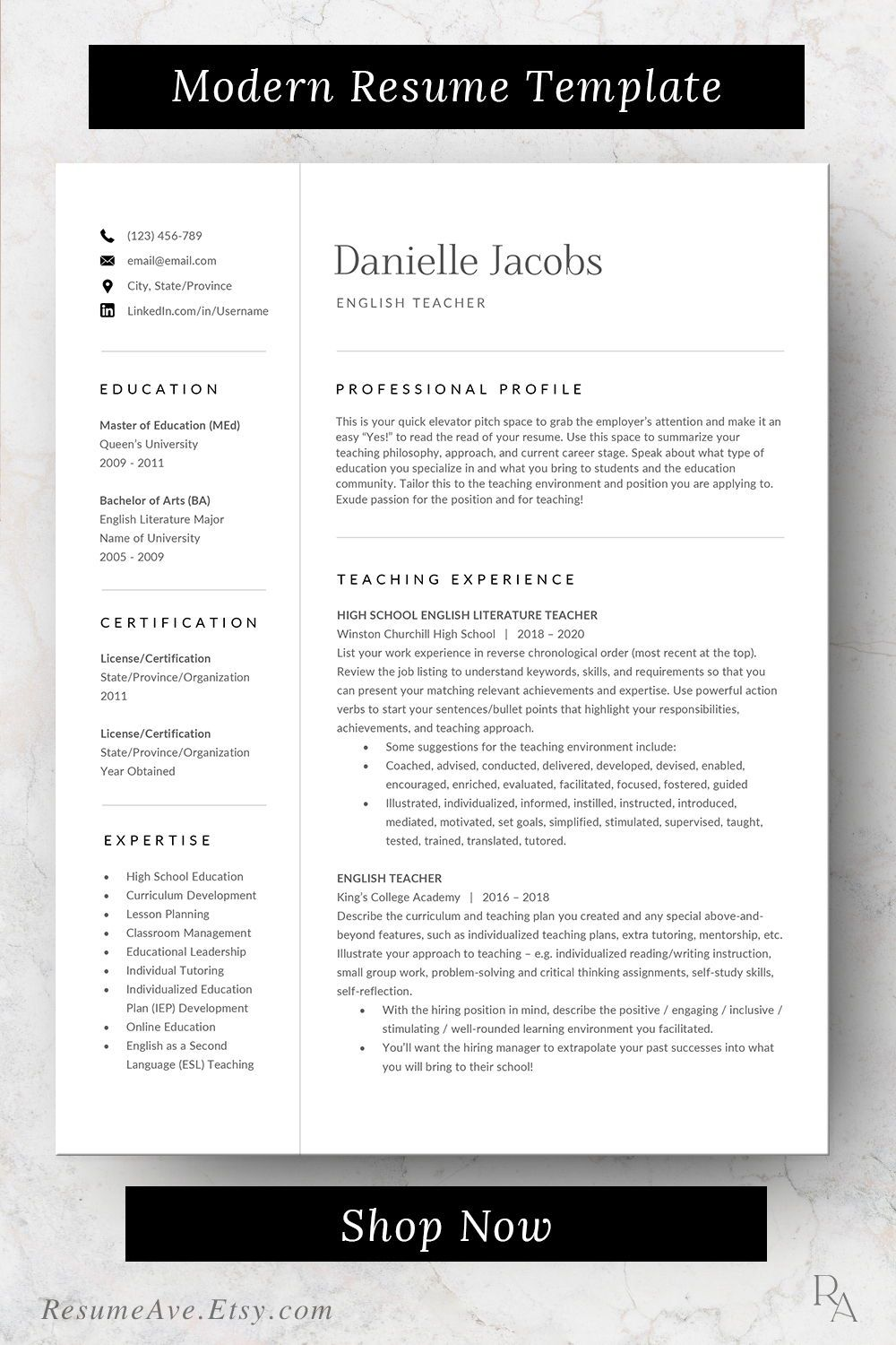 Professional Teacher Resume Template Word Design Cv Template For Instant Download Modern Teacher Resume Template Resume Template Word Nursing Resume Template
